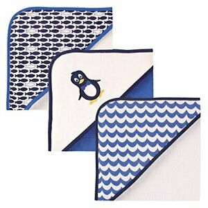 Luvable Friends Unisex Baby Cotton Terry Hooded Towels Mr Penguin One Size