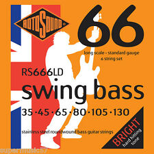 Rotosound RS666LD 6 String Swing Bass Guitar Stainless Steel Roundwound 35-130