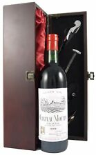 1978 Chateau Moulin Medoc vintage wine in silk lined box with 4 wine accessories