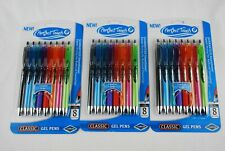🔶 3 PACK PERFECT TOUCH COMFORT GRIP CLASSIC GEL PENS 8 PENS PER PACK NEW!