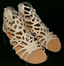 Rock & Candy Natalia vegan gladiator rhinestone peep toe sandal flats 10