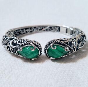Vintage Oval Malachite Cuff Bracelet 925 Sterling Br 3039 123726800088