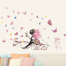 Colorful Flower Fairy Butterfly Girl Wall Stickers Home Room Decor Decals Murals