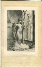 ANTIQUE  ART NOUVEAU ARTISTIC NUDE WOMAN CANDLE HOLDER MIRROW BEDROOM ART PRINT