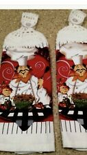 2 Kitchen Towels with  white  Crochet Tops (Chef )100% cotton