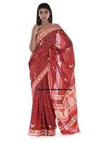Femme Coton Main Bloc Imprimé Sari Indien Beau Canard Imprimé Décontracté Sari