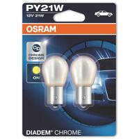 2 x Osram Diadem Chrome 581 PY21W 12V Indicator Amber Orange Signal Car Bulbs