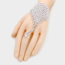 """7"""" silver crystal hand bracelet ring bridal prom pageant"""