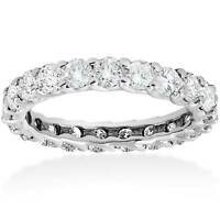 3 ct Round Diamond Eternity Wedding Ring 14K White Gold Womens Stackable Band