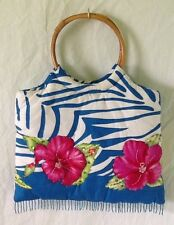 Padded Quilted Handbag Purse by SPA Beach Tote Hibiscus Tropical Beaded Bamboo