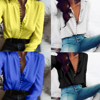 Fashion Women Casual Button T-Shirt Solid Long Sleeves Blouse Lapel Shirt Tops