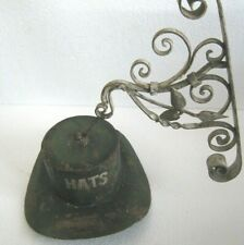 Vintage old iron hat trade sign store display sign  HATS with wall bracket .