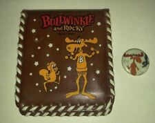 "Vintage ROCKY AND BULLWINKLE Plastic Wallet & 1"" Pin Pinback VF 8.0 PAT Ward"