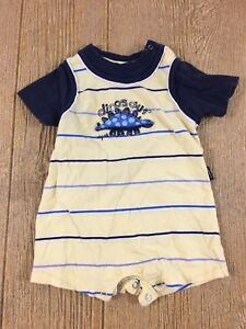 Carter's Baby Boys 6 Months Romper One Piece Dinosaur Yellow Blue Striped