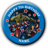 PERSONALISED AVENGERS BIRTHDAY BADGES / FRIDGE MAGNETS / MIRRORS - 58MM or 77MM