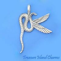 LARGE WINGED SERPENT SNAKE .925 Sterling Silver Pendant MADE IN USA