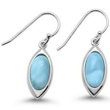 Natural Larimar Marquise Dangle .925 Sterling Silver Earrings