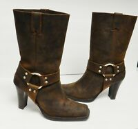 Michael Kors Hi-Heel Harness Boots Oiled Leather Western Biker Brown Size 8.5 M
