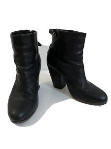 Rag And Bone Newbury Black Leather Boots, Sz 37.5 Eur
