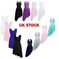 Girl Kid Lyrical Ballet Dance Dress Ballroom Leotard Pleated Skirt Dancewear UK!