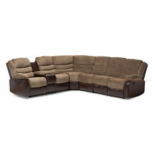 BROWN TERRY CLOTH FAUX LEATHER THEATER SECTIONAL SOFA- 2 RECLINERS STORAGE WEDGE