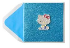 PAPYRUS SANRIO HELLO KITTY CARD WITH CHARM GLITTER BLING BLANK ANY OCCASION