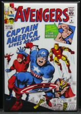 "The Avengers #4 Comic Book Cover 2"" X 3"" Fridge Magnet. Captain America Iron Man"