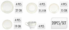 20 Piece White Porcelain Dinner Serving Dinnerware Dining Set Cups Bowls Plates