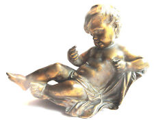 Sculpture statue de pendule en bronze, Napoléon III: Angelot chérubin allongé
