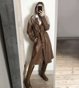 ZARA LIMITED EDITION FAUX LEATHER COAT TRENCH BELTED BRICK Size XS