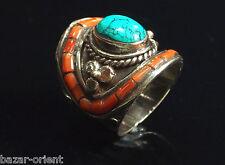 Traditioneller Tibetischer Türkis Ring tibetan turquoise ring neusilber  Nr.4