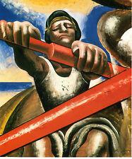 "1936 Painting DAVID ALFARO SIQUEIROS, Rowing,El Botero, Mexican Muralist 14""x11"""