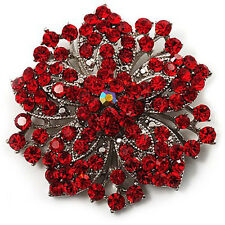 Vintage Red Rhinestones Flower Shaped Brooch Pin BR94