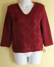 NWT Bala Bala Cranberry Art-to-Wear Knit Crinkle Patterned V-Neck Top Sz M