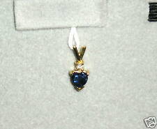 SOLID    14K Gold     Sapphire   Diamond    Pendant