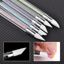 5Pcs Set Nail Art Brush Dotting Tools 2 Way Sculpture Pen Silicone Carving Craft