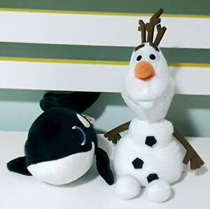 Lot of 2x TY Beanies Nona the Killer Whale & Olaf the Snowman!