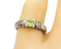 925 Sterling Silver - Vintage Peridot Oxidized Rustic Band Ring Sz 8 - R17131