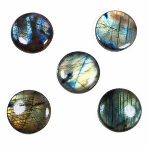 5 Pcs-34mm Natural Labradorite Flashy Top Quality Round Cabochon Gemstones Lot