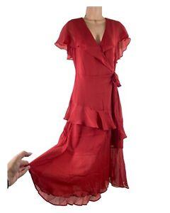 BNWT OASIS burnt orange red crepe chiffon ruffle midi dress size 12 RRP £62