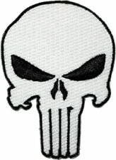 Marvel Comics The Punisher White Skull Logo Die-Cut Embroidered Patch NEW UNUSED
