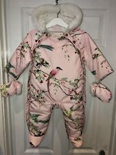 Beautiful TED BAKER Pink Floral Bird Print Pram Suit Snowsuit Age 6-9m Worn Once