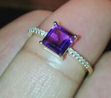 18K Solid Yellow Gold Natural Amethyst Natural Diamond Ring