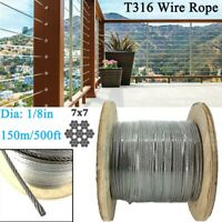 """500ft 1/8"""" Wire Rope Cable 7x7 Construction T316 Stainless Steel Cable Railing"""