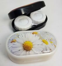 Flowers Mirror Case Contact Lens Soaking Storage Case UK MADE - White Daisy