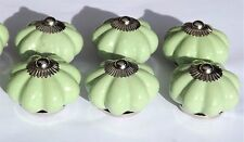 Cerámica Porcelana Tiradores Verde Claro Flor Con Tornillos Cromados x 6