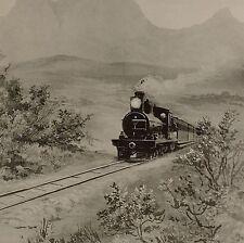 1899 STAMPA SUD AFRICA COLONIALE IN ROTTA VERSO BULAWAYO Locomotiva del treno