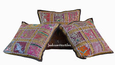 "SET OF 3 INDIAN HANDMADE ZARI WORK 16X16"" COTTON CUSHION COVER ETHNIC ARTlpo"