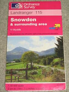 OS Ordnance Survey Landranger Map Sheet 115 Snowdon & surrounding area - 1995