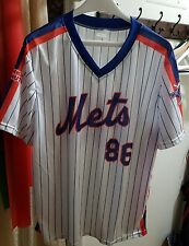 100% Polyester NY Mets 25th Anniv. Dunkin' Donutsn White Pinstripe Top Shirt XL